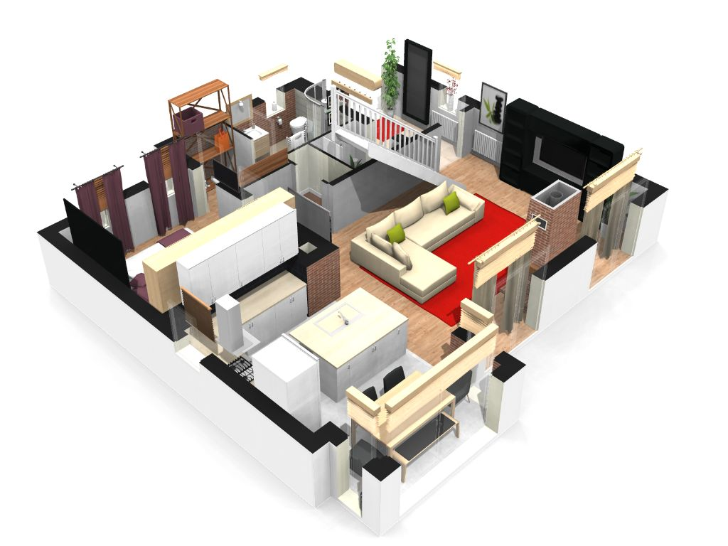 Plan interieur maison 3d maison moderne for Maison interieur 3d